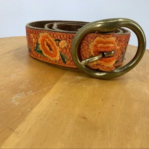 Lucky Brand orange leather Floral Embroidered belt